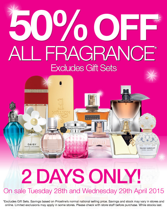 Priceline - 50% off Fragrances Tues 28 April and Wed 29 April 2 Days Only
